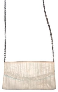 Elie Tahari Cream Designer Cream Leather Clutch