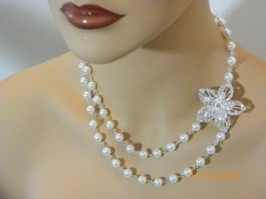 Other Vintage Style Swarovski Pearl Wedding Bridal Necklace Pearl Rhinestone Flower Necklace Bridal Necklace White