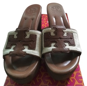 Tory Burch Natural/luggage Wedges
