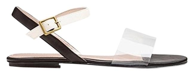 Item - Black White Clear Strap Colorblock Sandals Size US 9 Narrow (Aa, N)