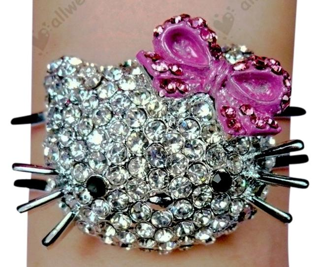 Item - Silver and Pink Rhinestone Face Bracelet