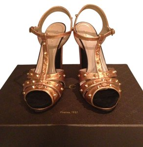 Gucci Leather Studded Gold Formal
