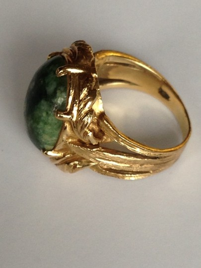 Other 14K YELLOW GOLD AND SPINACH JADE NATURAL STONE RING