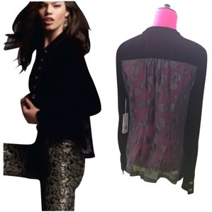 2 B Rych Velvet Sheer Military Black Blazer