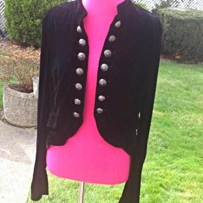 2 B Rych Velvet Sheer Military Jacket Polka Dot Designer Trendy Chic Date Night Girls Night Rare Ad Campaign Unique Black Blazer