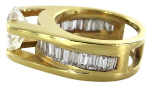 14KT SOLID YELLOW GOLD RING WEDDING BAND PEAR DIAMOND 24 BAGUETTES SOLITAIRE