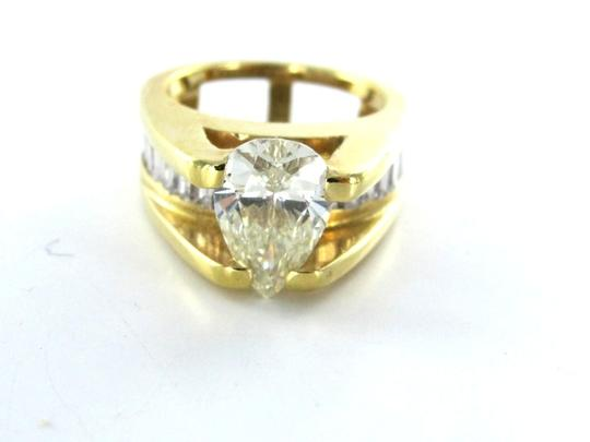 Other 14KT SOLID YELLOW GOLD RING WEDDING BAND PEAR DIAMOND 24 BAGUETTES SOLITAIRE Image 1