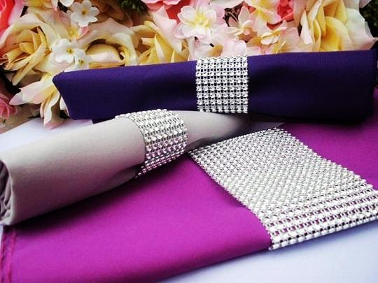 Silver Diy Custom Fit - 24 Rows X 30ft Table Napkin Ring Bing Bing 8 Colors Available