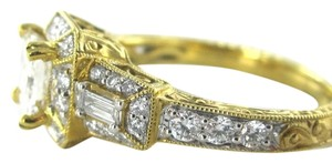 18KT SOLID YELLOW GOLD RING WEDDING BAND 37 DIAMOND BRIDAL ENGAGEMENT PRINCESS