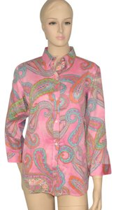 Lauren by Ralph Lauren Paisley Cotton Blouse Button Down Shirt Pink
