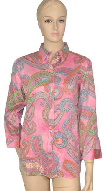 Preload https://img-static.tradesy.com/item/843981/ralph-lauren-pink-paisley-cotton-summer-blouse-shirt-button-down-top-size-12-l-0-0-650-650.jpg