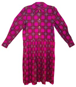 Magenta Plaid Maxi Dress by unknown