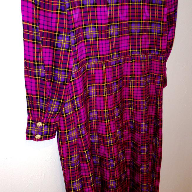 Magenta Plaid Maxi Dress by Other