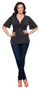 Kiyonna Polka Dot 4x Top Black