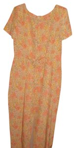 Yellow floral Maxi Dress by Maggy London 100% Silk