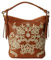 Isabella Fiore Embroidered Leather Tassels Hobo Bag Image 0