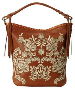 Isabella Fiore Embroidered Leather Tassels Hobo Bag