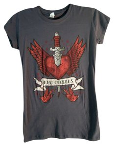 Pimatee Graphic Tee Quality Heart Dagger T Shirt GREY Red