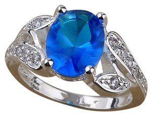 BRAND NEW! 14K White GF & Blue Fire Topaz Ring 6
