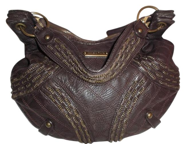 Isabella Fiore Studded Zipper Slouch Dk Brown Leather Hobo Bag Isabella Fiore Studded Zipper Slouch Dk Brown Leather Hobo Bag Image 1