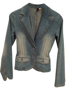 Fitted Size 4 4 Faded Denim Womens Jean Jacket
