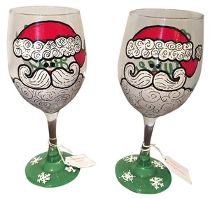 Christmas Glasses Christmas Wine Glasses - (handmade)