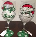 Christmas Glasses Christmas Wine Glasses - (handmade) Image 1