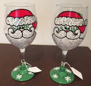 Green Christmas Santa Clause Wine Glasses