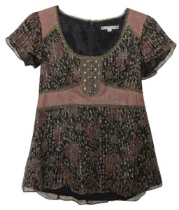 Nanette Lepore Vintage Gold Pink Silk Top Brown, Gold, Mauve