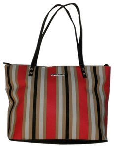 Nine West Striped Colorful Bold Stripe Tote in Red, Camel, Black and White