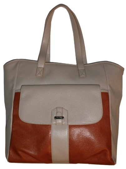 Nine West Double Shoulder Strap Tote in Tan and Burnt Orange