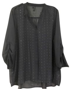 Maurices V-neck Sheer Studded Top Grey