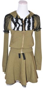 RED Valentino $1050 RED VALENTINO KHAHI GREEN BLACK LACE GUIPURE SKIRT HOODIE SET SIZE SMALL