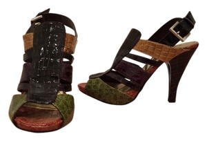 Dollhouse Sexy Red Crocodile Green Crocodile Strappy Summer Spring Multi Sandals