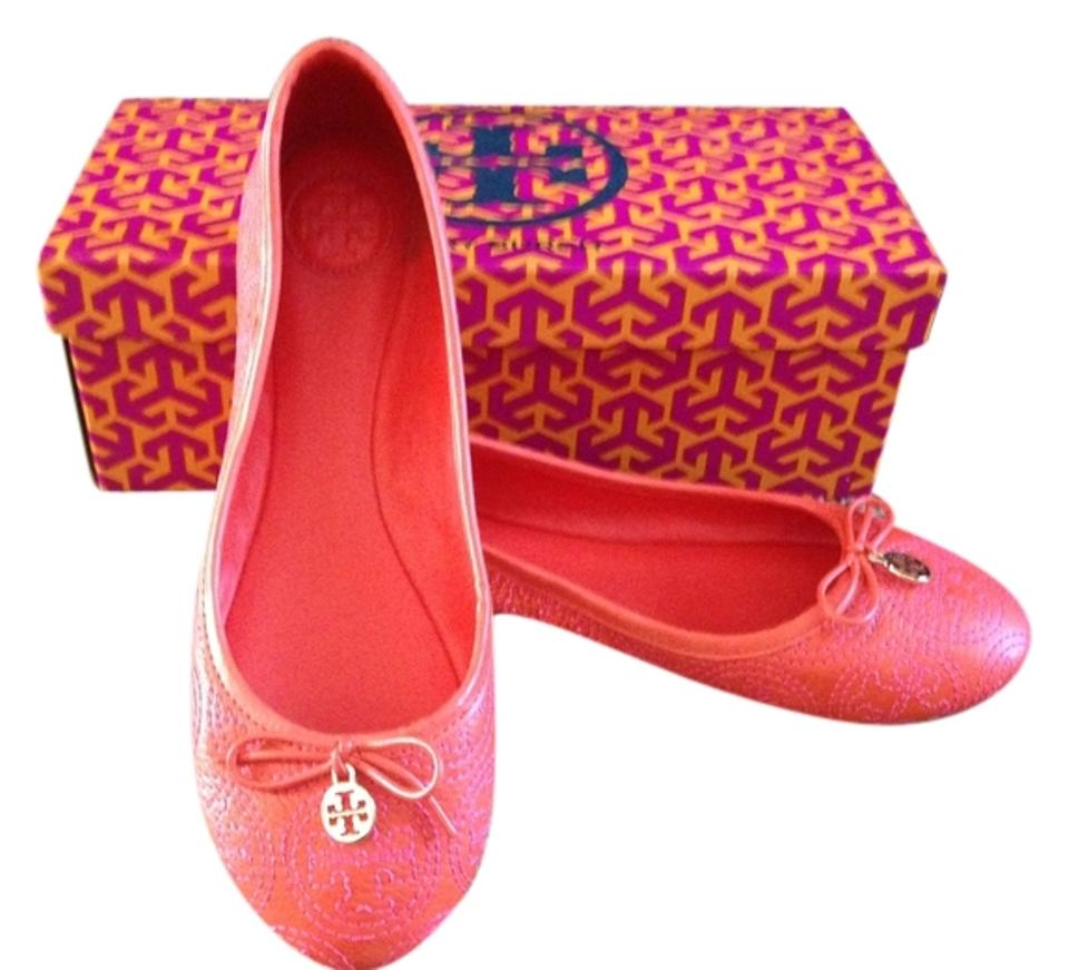 0ddd22540 Tory Burch Ballet Ballet Ballet Spring orange with pink stitching Flats  Image 0 ...