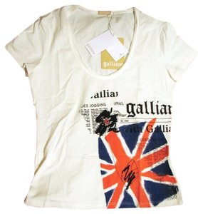 John Galliano New Union Jack Flag Chic Designer Luxury Couture Newsprint Hologram Scoop Neck Shortsleeve Fitted Weekend Shopping T Shirt White
