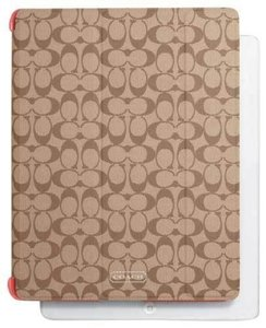 Coach Coach Signature Apple iPad Trifold Smart Cover F69079 Khaki/Coral NWT