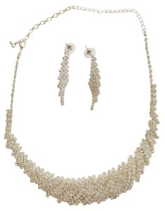 Silver Rhinestone Necklace and Earring Set