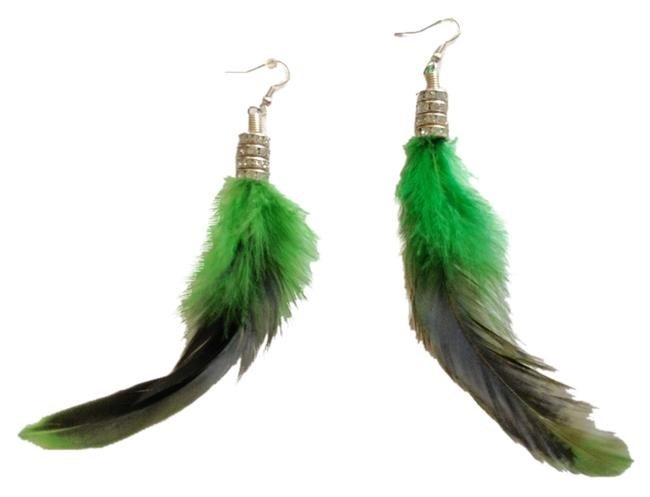 Item - Green Black and Silver Custom Made One Of A Kind Long Earrings