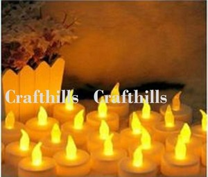 New Lot 48 Tea Led Amber Candle Flicker Light Flameless Weeding Party Home Table Decorate Decoration Tealights