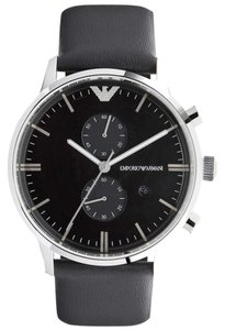 Emporio Armani EMPORIO ARMANI MEN'S BLACK LEATHER CHRONOGRAPH WATCH MODEL - AR0397