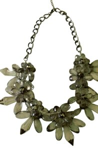 Anthropologie beautiful large light grey flower statement necklace adjustable new