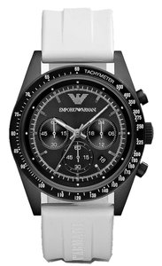 Emporio Armani EMPORIO ARMANI MEN'S CHRONOGRAPH SPORTIVO WHITE RUBBER WATCH WITH WHITE DIAL AR6112