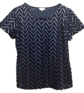 Weston Wear Anthropologie Plume Point Tee T Shirt Navy Blue