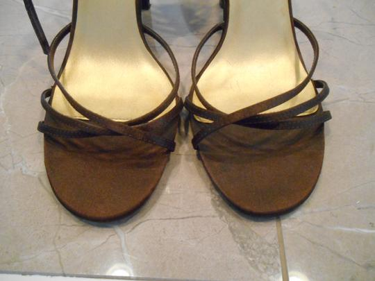 Chinese Laundry Heels Heels High Heels Satin 8.5 M Medium Wedding Dressy Prom Party Ankle Strap Brown Sandals