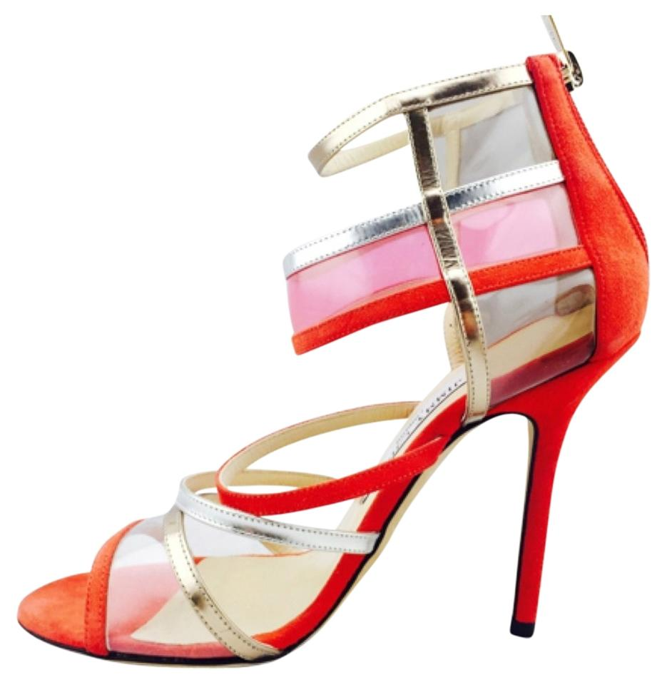 91a0ac2bd66d Jimmy Choo Orange Patent Clear Vynal Strappy Sandal Heels New Formal Shoes