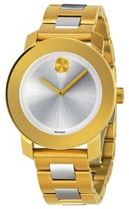 Movado Movado Bold Silver Dial Gold IP Stainless Steel Ladies Watch 3600129