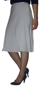 Ann Taylor Linen A-line Tea Length Blue Skirt Pale Blue