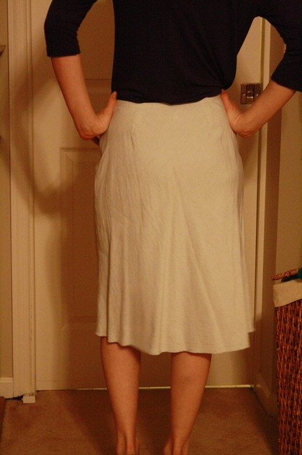 Ann Taylor Linen A-line Tea Length Skirt Pale Blue