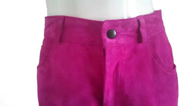 Lanna Suede Suede Jeans High Waist Jeans 80s Jeans High Waisted Jeans Jeans Suede Suede Trousers Skinny Pants Pink Image 2